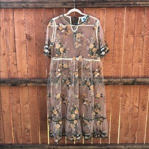 Vicky & Lucas | Sheer floral embroidered dress